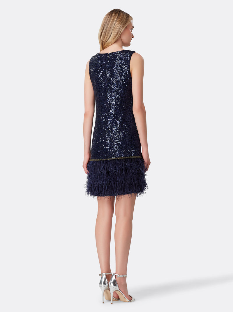 Back View of Women's Designer V Neck Dress with Feathers in Navy Blue | Tahari ASL Navy