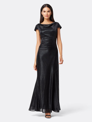 Front View of Women's Luxury Cowl Neck Gown by Tahari ASL Black
