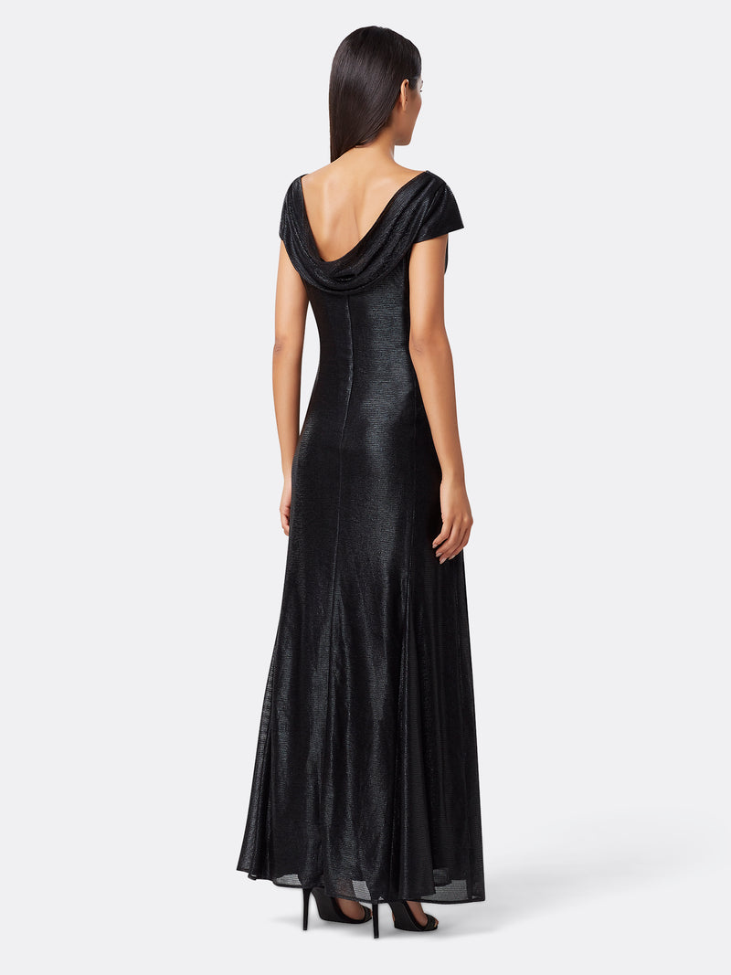 Back View of Women's Luxury Cowl Neck Gown by Tahari ASL Black