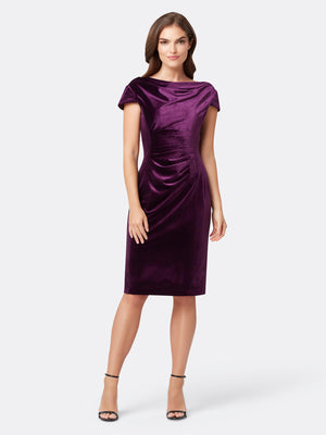 Front View of Women's Cowl Neck Designer Cocktail Dress in Purple | Tahari ASL