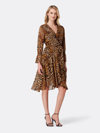 Front View of Women's Designer Surplus Dress by Tahari ASL Classic Leopard