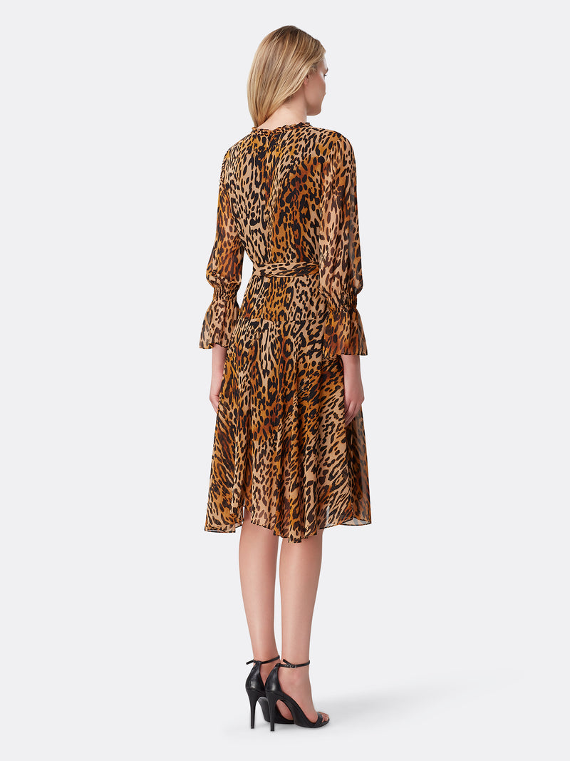 Back View of Women's Designer Surplus Dress by Tahari ASL Classic Leopard