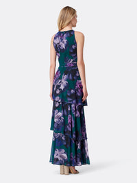 Floral Chiffon Tiered Gown