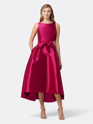Front View of Women's Designer Bow Dress with High Low Skirt by Tahari ASL