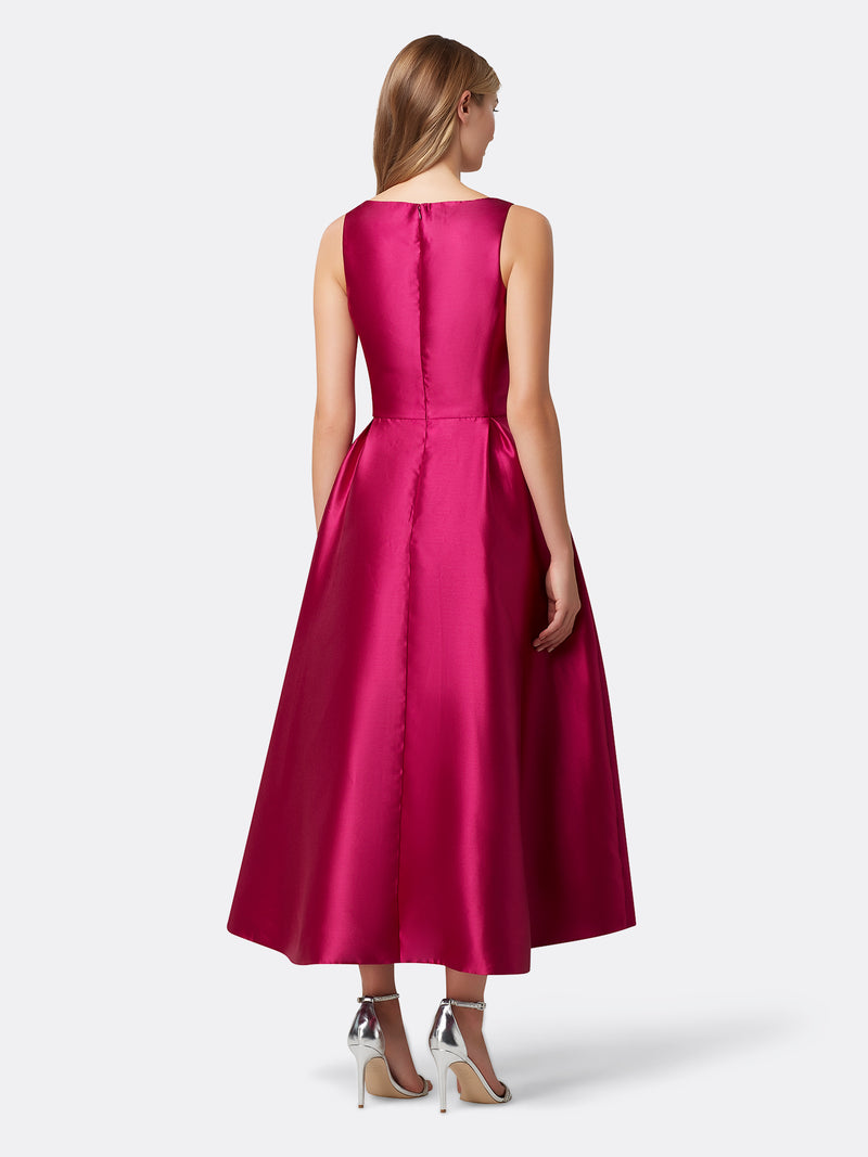 Back View of Women's Designer Bow Dress with High Low Skirt by Tahari ASL
