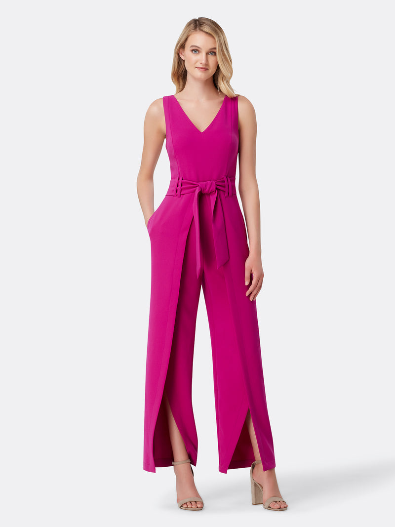 Front View of Women's Designer Jumpsuit with V Neck by Tahari ASL Fuchsia