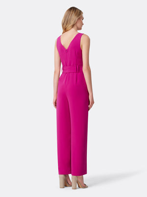 Back View of Women's Designer Jumpsuit with V Neck by Tahari ASL Fuchsia