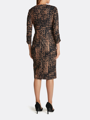 Ikat Print Side Twist Dress