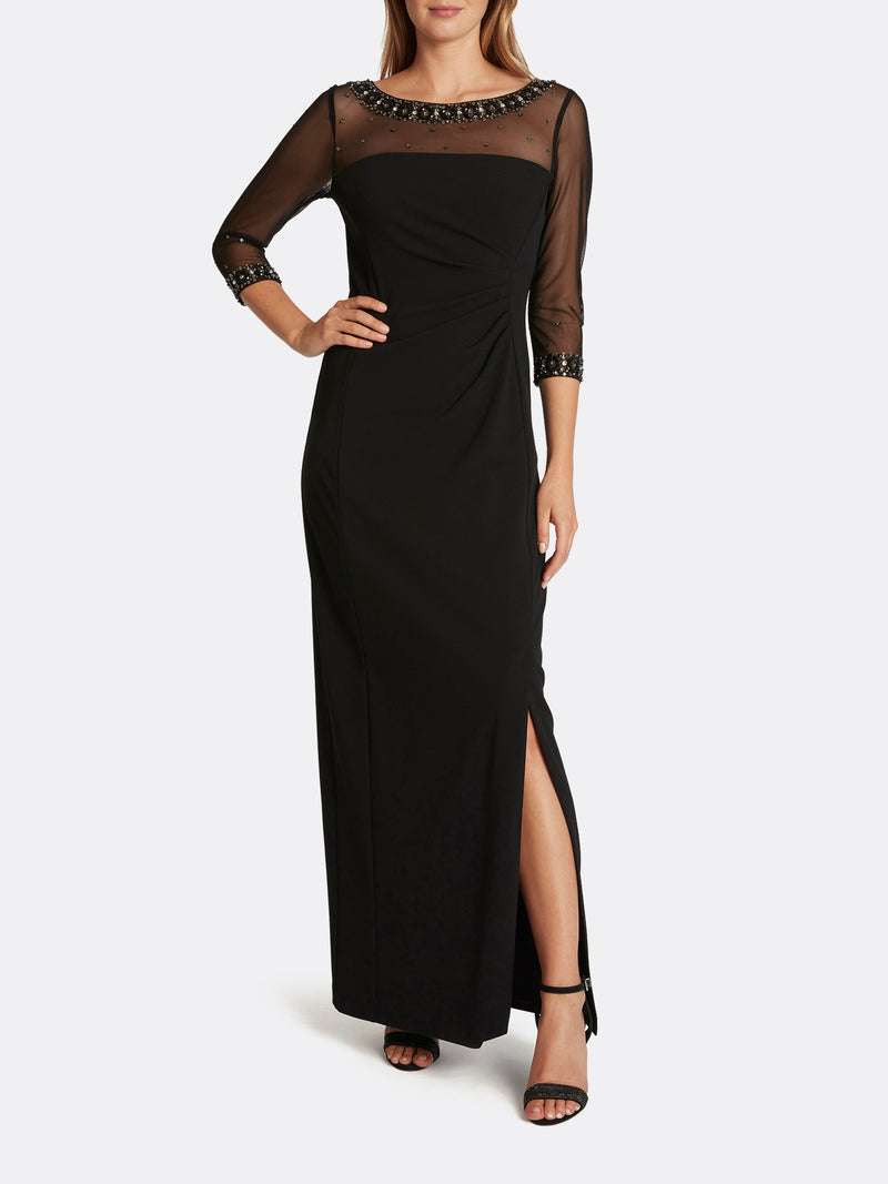 Bejeweled Illusion Neck Column Gown