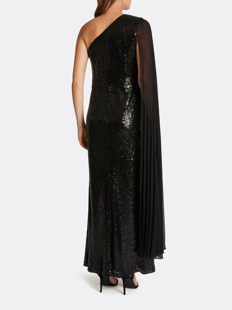 Sequin One-Shoulder Gown