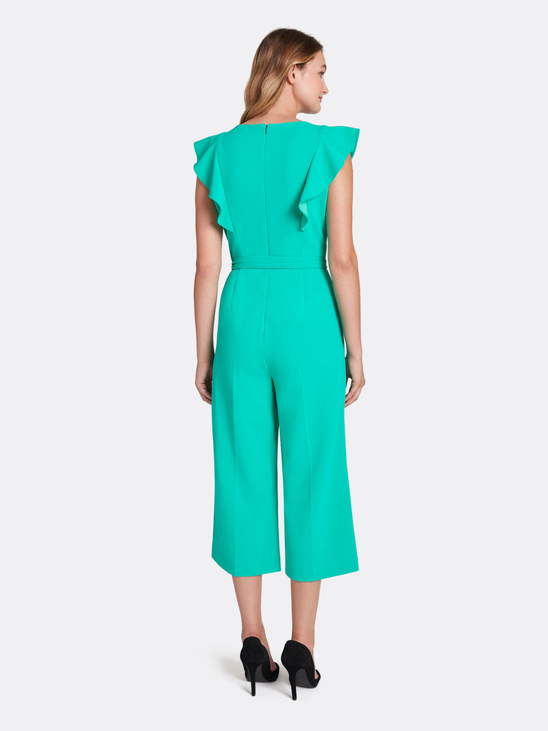 Ruffled Scuba Crepe Cropped Jumpsuit