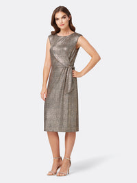 Front View of Women's Designer Shimmering Pencil Skirt Dress with Side Bow | Tahari ASL Bronze Black