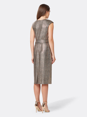Back View of Women's Designer Shimmering Pencil Skirt Dress with Side Bow | Tahari ASL Bronze Black