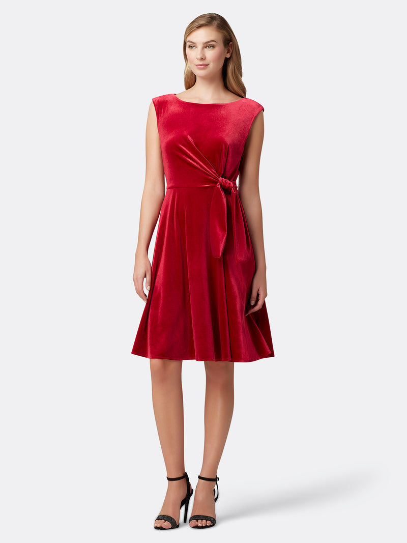 Front View of Women's Red Velvet Luxury Dress with Side Bow | Tahari ASL Ruby