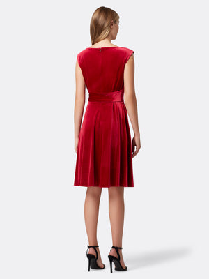 Back View of Women's Red Velvet Luxury Dress with Side Bow | Tahari ASL