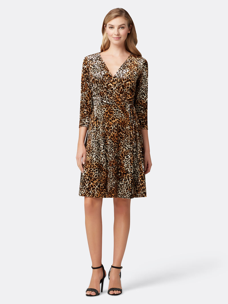 Leopard-Print Velvet Wrap Dress