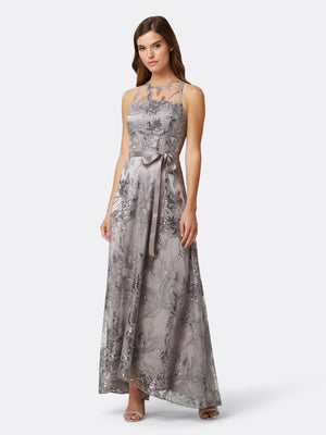 Front View of Women's Designer Silver Gown Sleeveless with Flowers | Tahari ASL Silver Floral