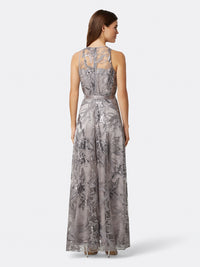 Back View of Women's Designer Silver Gown Sleeveless with Flowers | Tahari ASL Silver Floral