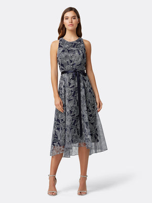 Front View of Women's Designer Hi Lo Dress with Ribbon Bow in Navy with Silver Flowers | Tahari ASL Navy Silver Floral