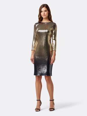 Front View of Women's Designer Sequin Dress in Gold and Navy Blue | Tahari ASL