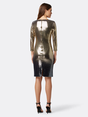 Back View of Women's Designer Sequin Dress in Gold and Navy Blue | Tahari ASL