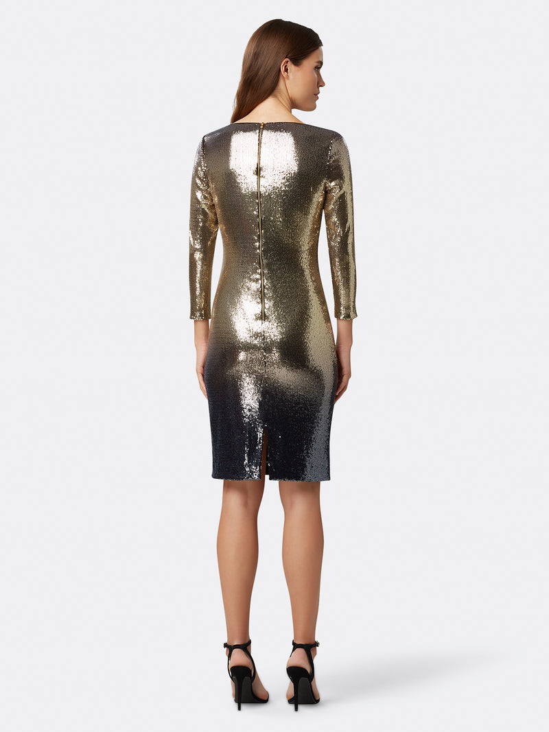 Back View of Women's Designer Sequin Dress in Gold and Navy Blue | Tahari ASL Gold Navy Sequin