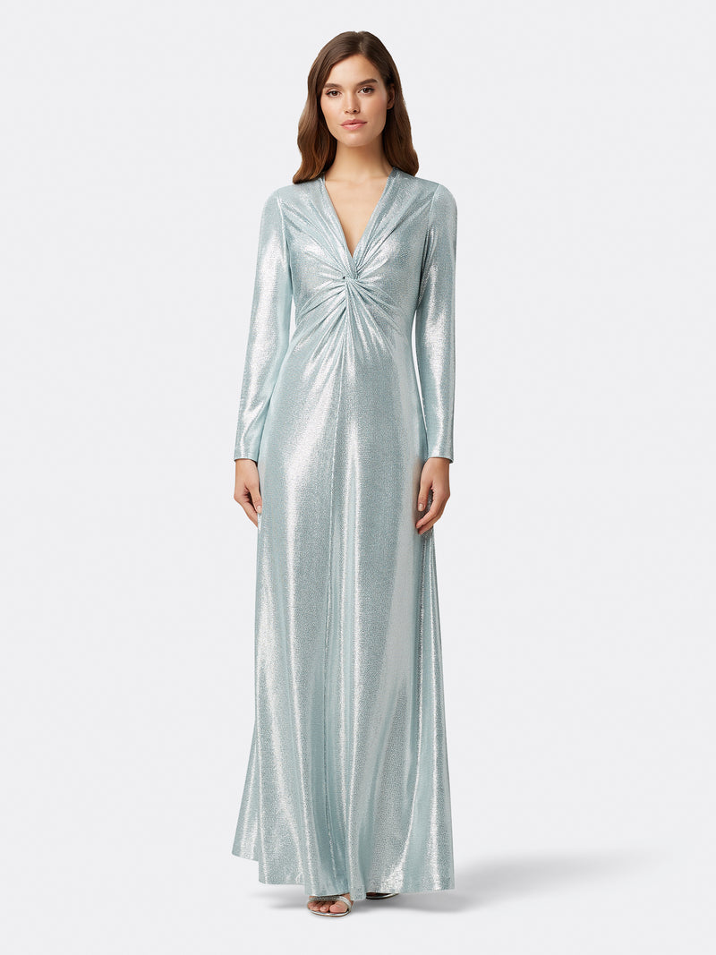 Front View of Women's Designer Longsleeve Gown with Twist Front in Silver | Tahari ASL Silver Powder