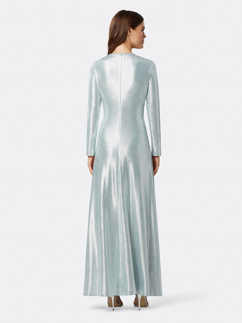 Back View of Women's Designer Longsleeve Gown with Twist Front in Silver | Tahari ASL Silver Powder