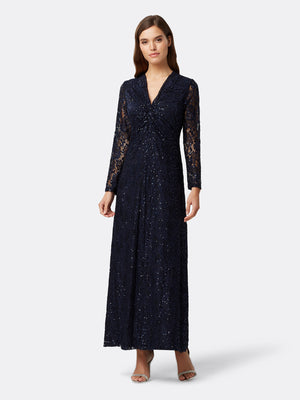 Front View of Women's Designer Longsleeve Gown with Twist Front in Navy Blue | Tahari ASL
