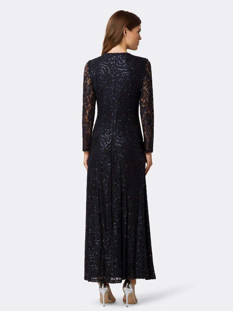 Back View of Women's Designer Longsleeve Gown with Twist Front in Navy Blue | Tahari ASL
