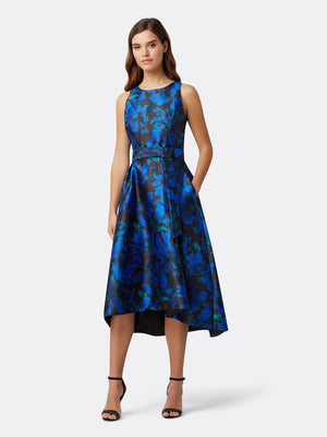 Front View of Women's Luxury Hi Low Dress in Black with Blue Flowers | Tahari ASL Black Royal Jacquard