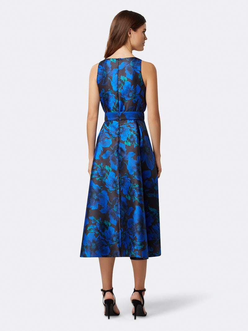 Back View of Women's Luxury Hi Low Dress in Black with Blue Flowers | Tahari ASL Black Royal Jacquard