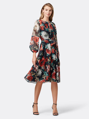 Front View of Women's Designer Floral Dress Longsleeve with Shirred Neck | Tahari ASL Red Yellow Bloom