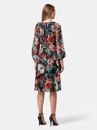 Back View of Women's Designer Floral Dress Longsleeve with Shirred Neck | Tahari ASL Red Yellow Bloom