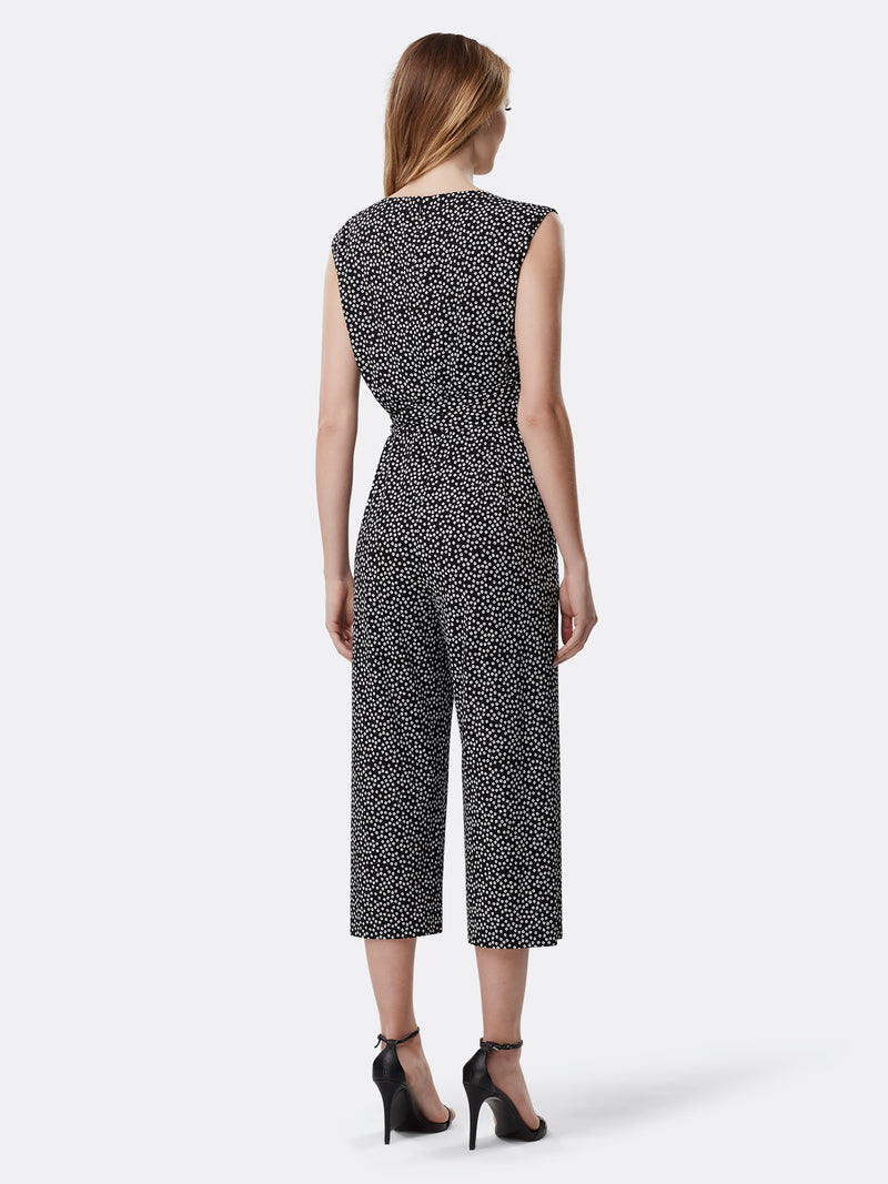 Printed Side-Tie Cropped Jersey Jumpsuit