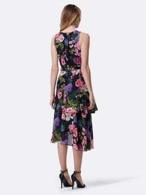 Tiered Botanical Print Chiffon Dress