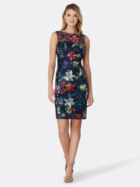 Embroidered Floral Illusion-Neckline Dress