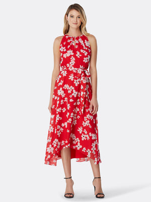 Floral Chiffon Hi-Lo Halter Dress