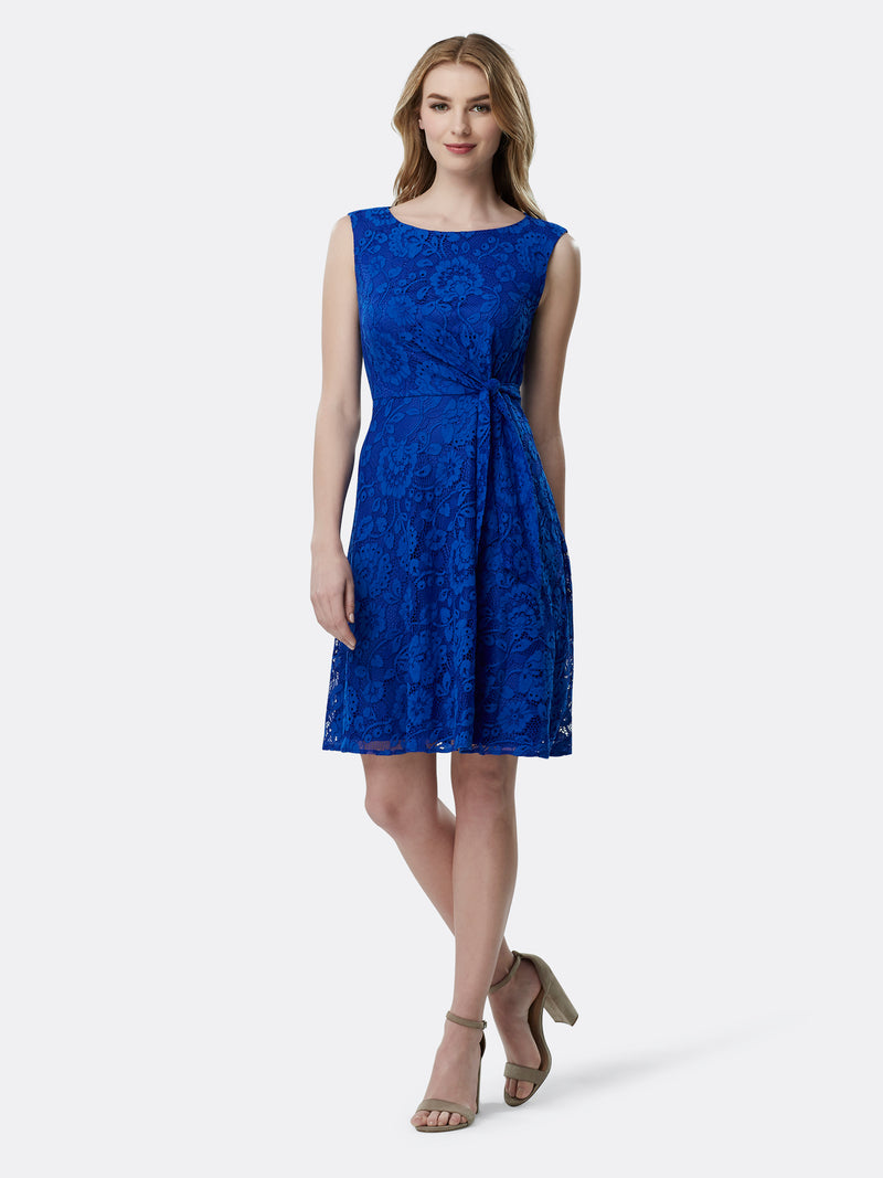 Front View of Women's Luxury Lace Dress Sleeveless by Tahari ASL ROYAL
