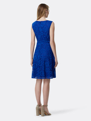 Back View of Women's Luxury Lace Dress Sleeveless by Tahari ASL ROYAL