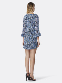 Back View of Women's Luxury Disc Hem Detail Shift Dress by Tahari ASL DTSYPAINT FLRL ROY