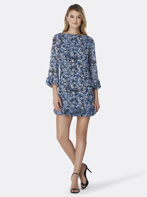 Front View of Women's Luxury Disc Hem Detail Shift Dress by Tahari ASL DTSYPAINT FLRL ROY