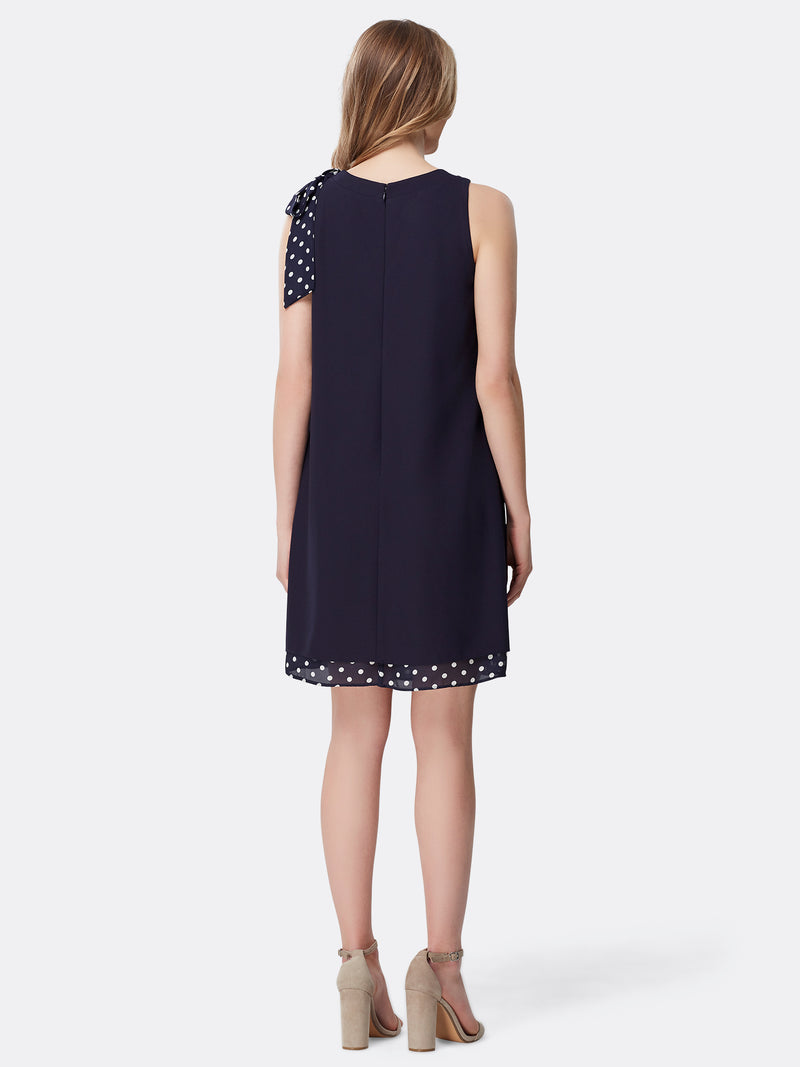 Dotted Tie-Neck Chiffon A-Line Dress