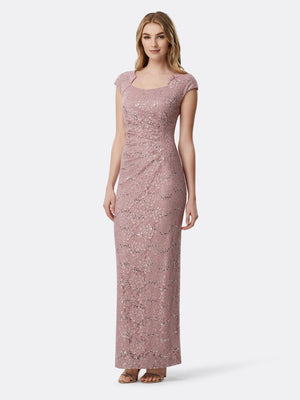 Front View of Women's Designer Capsleeved Sequin Lace Gown by Tahari ASL Mauve