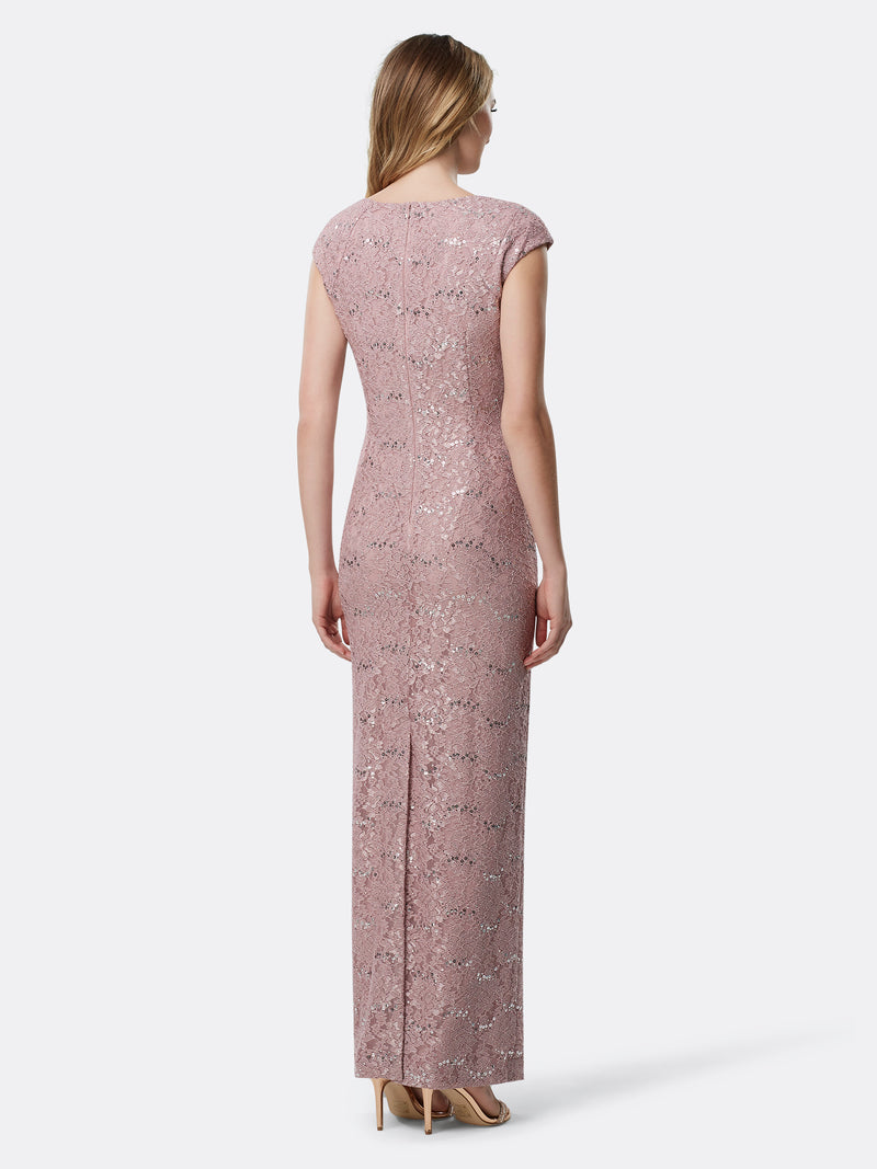 Back View of Women's Designer Capsleeved Sequin Lace Gown by Tahari ASL Mauve