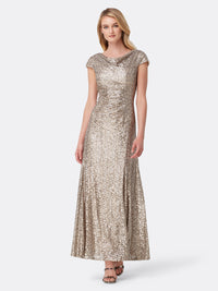 Sequined Cowl Neck Gown