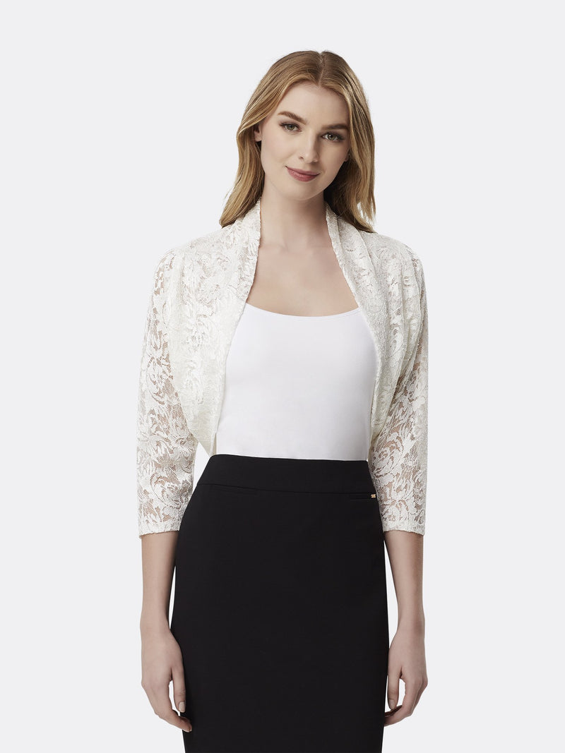 Woman Wearing Long Sleeve Lace Shrug in Ivory | Tahari Asl