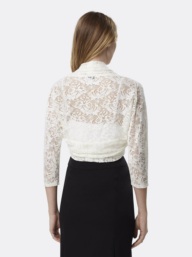 Woman Wearing Ivory Long Sleeve Lace Shrug | Tahari Asl