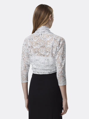 Woman Wearing Silver Long Sleeve Lace Shrug Shawl | Tahari Asl