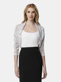 Woman Wearing Long Sleeve Lace Shrug in Silver Grey | Tahari Asl